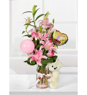 pembe çiçekler peruş ayıcık