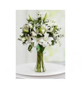 Yunan vazoda Beyaz lilyumlar