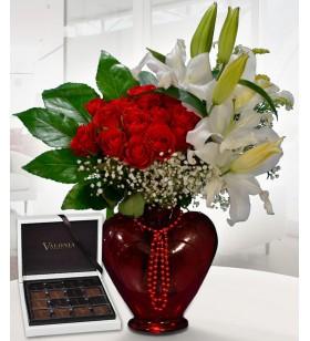 çikolatalı lilyum ve güller
