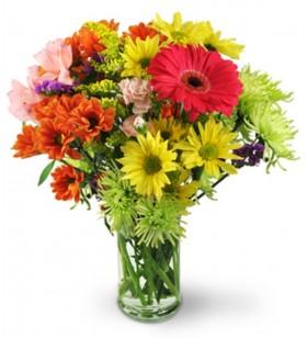 karışık cam vazo içinde çiçekler