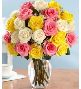 renkli güller vazo içinde