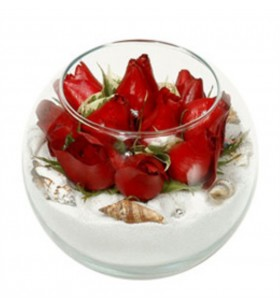 fanus cam içinde güller